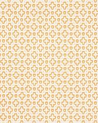 Schumacher Fabric Scout Embroidery Orange Fabric