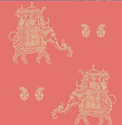 Brewster Wallcovering Ophelia Coral Elephant Coral Animals