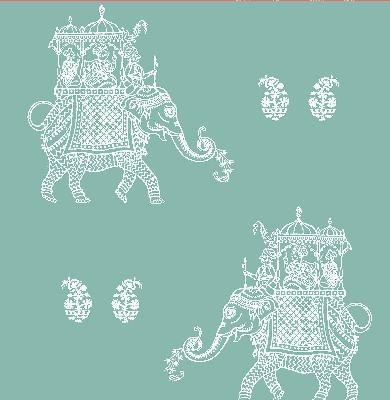 Brewster Wallcovering Ophelia Turquoise Elephant Turquoise Animals