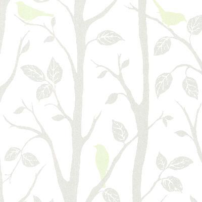 Brewster Wallcovering Corwin Light Green Bird Branches Light Green Animals