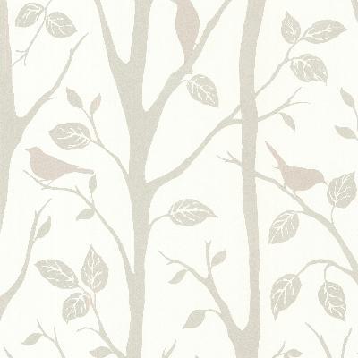 Brewster Wallcovering Corwin Grey Bird Branches Grey Animals