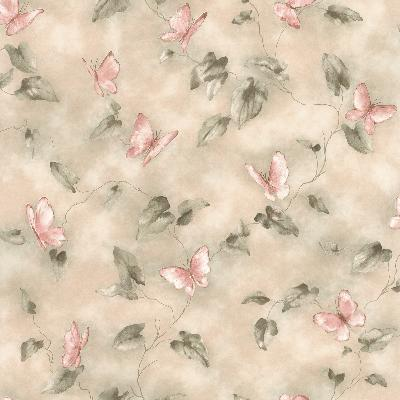 Brewster Wallcovering Aveline Pink Butterfly Trail Pink Animals
