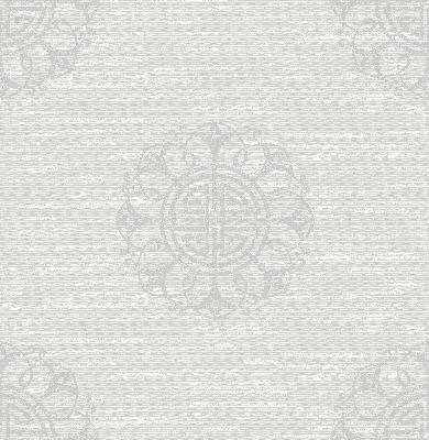 Brewster Wallcovering Lien White Fountain Medallion White Ethnic and Global