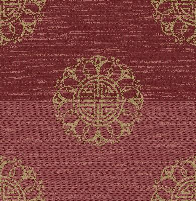 Brewster Wallcovering Lien Red Fountain Medallion Red Ethnic and Global