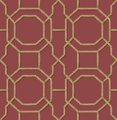 Brewster Wallcovering Summer Red Trellis Red Ethnic and Global