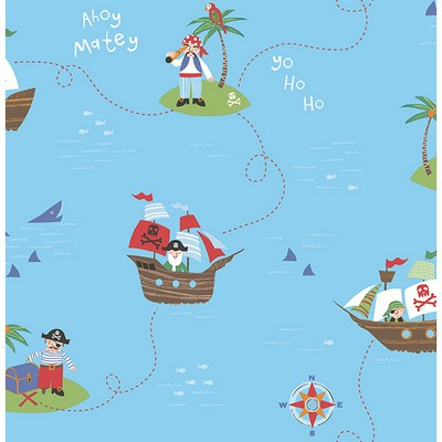 Brewster Wallcovering Funny Pirates Blue Pirates Blue Boys Wallpaper