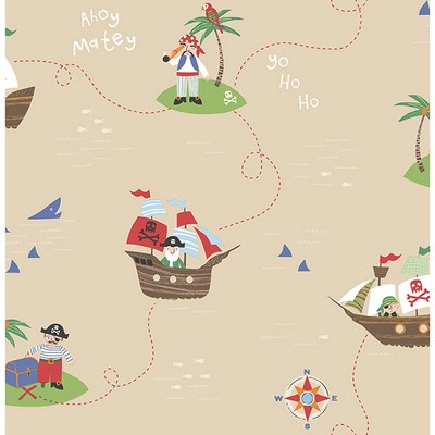 Brewster Wallcovering Funny Pirates Sand Pirates Sand Boys Wallpaper