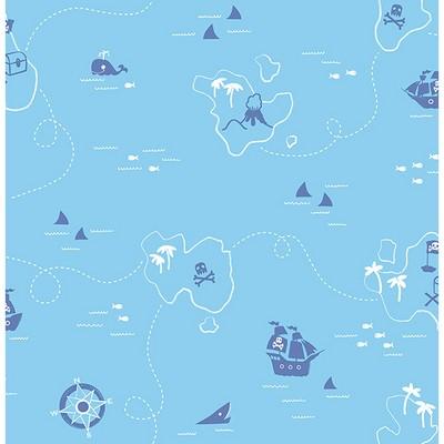 Brewster Wallcovering Sharks Blue Map Blue Boys Wallpaper
