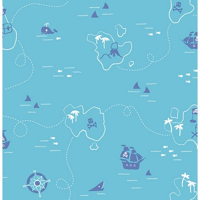 Brewster Wallcovering Sharks Teal Map Teal Boys Wallpaper