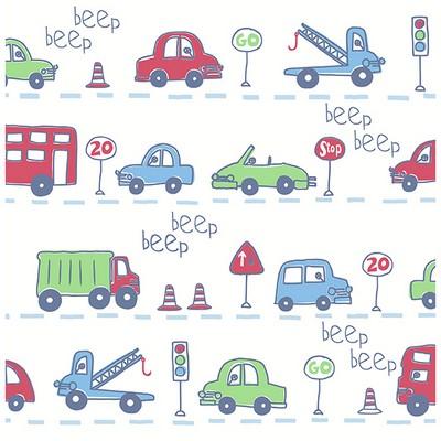 Brewster Wallcovering Beep Beep Beige Cars Beige Boys Wallpaper