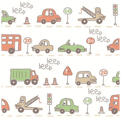 Brewster Wallcovering Beep Beep Beige Cars Beige Boys Wallpaper