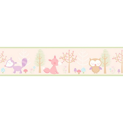 Brewster Wallcovering Happy Forest Friends Pink Border Pink Wall Borders