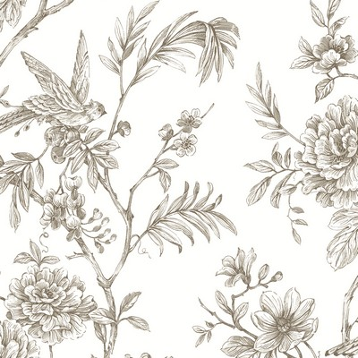 Brewster Wallcovering Jessamine Taupe Floral Trail Wallpaper Taupe Animals