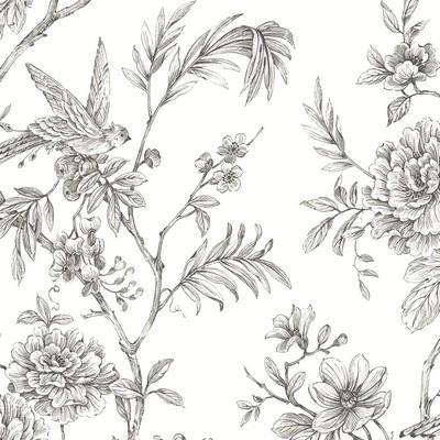 Brewster Wallcovering Jessamine Grey Floral Trail Wallpaper Grey Animals