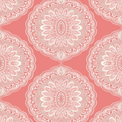Brewster Wallcovering Bolinas Coral Medallion Wallpaper Coral Ethnic and Global