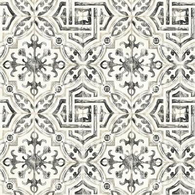 Brewster Wallcovering Sonoma Black Spanish Tile Wallpaper Black Ethnic and Global