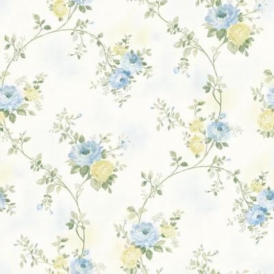 Brewster Wallcovering Mimosa Blue Trail Wallpaper Blue Traditional Flower Wallpaper