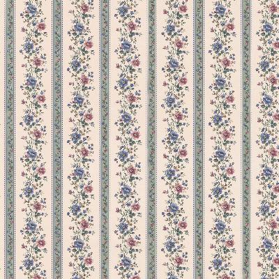 Brewster Wallcovering Laura Green Floral Stripe Green Traditional Flower Wallpaper
