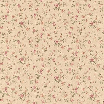 Brewster Wallcovering Cindy Beige Floral Trail Beige Traditional Flower Wallpaper