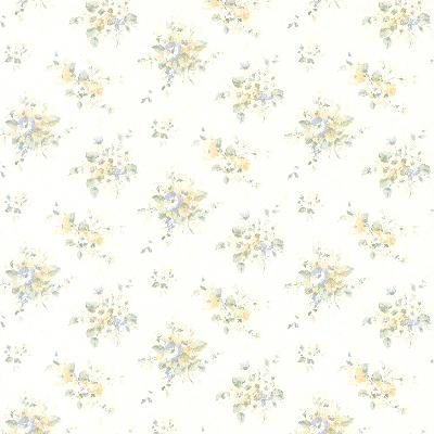 Brewster Wallcovering Elaine blue Floral Bouquet Blue Traditional Flower Wallpaper