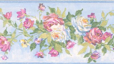 Brewster Wallcovering Rosa light blue Floral Bouquet Border Light Blue Wall Borders