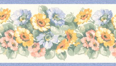 Brewster Wallcovering Maryanne periwinkle Floral Garden Border Periwinkle Wall Borders