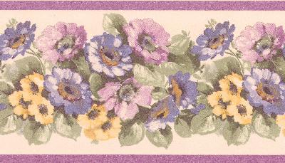 Brewster Wallcovering Maryanne purple Floral Garden Border Purple Wall Borders