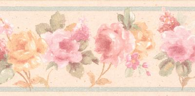 Brewster Wallcovering Luanne pink Floral Border Pink Wall Borders