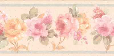 Brewster Wallcovering Luanne pink Floral Border Pink Traditional Flower Wallpaper
