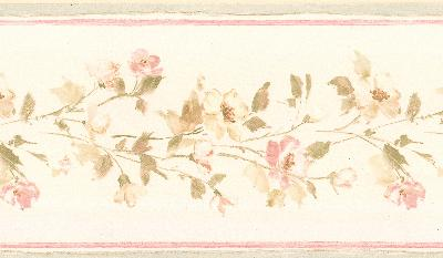 Brewster Wallcovering Lilah blush Floral Border Blush Traditional Flower Wallpaper