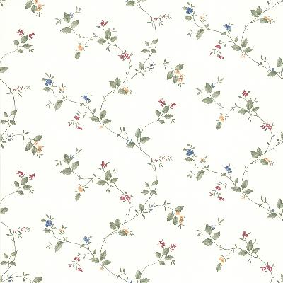 Brewster Wallcovering Somerset Floral Trail White New Country