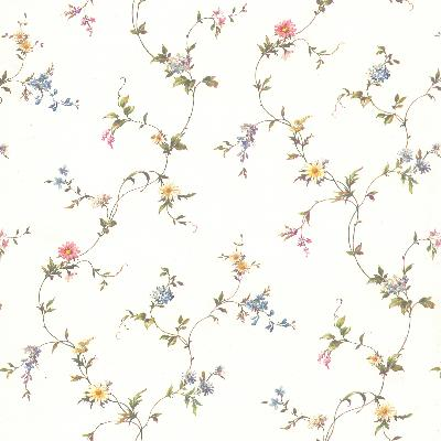 Brewster Wallcovering Abby White Floral Trail White New Country