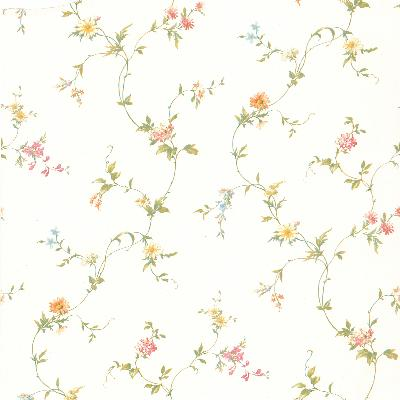 Brewster Wallcovering Savannah White Small Floral Trail  White New Country