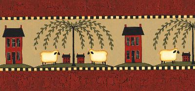Brewster Wallcovering Sheep Friends Red Sheep Border Red Wall Borders