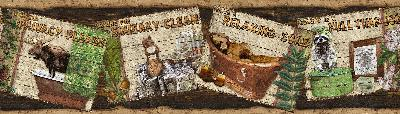 Brewster Wallcovering Woodland Humor Brown Rustic Personification Border Brown Wall Borders