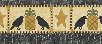 Brewster Wallcovering Poe Mustard Pineapples Birds And Stars Border Mustard New Country