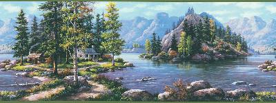Brewster Wallcovering Michigan Mountain Lake Border Blue New Country