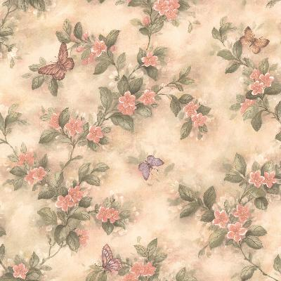 Brewster Wallcovering Lisa Peach Butterfly Floral  Peach Animals