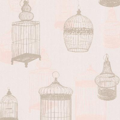 Brewster Wallcovering Avian Taupe Bird Cages Taupe Animals