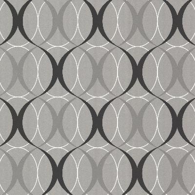 Brewster Wallcovering Circulate Silver Retro Orb Silver Modern Designs