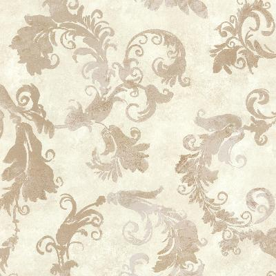Brewster Wallcovering Lana Off-White Scrolling Trail Off-White Brewster Wallpaper