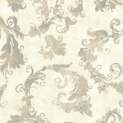 Brewster Wallcovering Lana Taupe Scrolling Trail Taupe Brewster Wallpaper