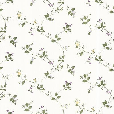 Brewster Wallcovering Veronica Purple Trail Purple Traditional Flower Wallpaper