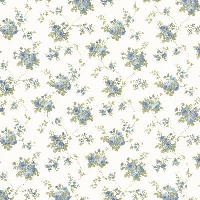 Brewster Wallcovering Isabella Blue Rose Trail Blue Traditional Flower Wallpaper