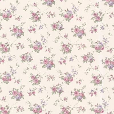 Brewster Wallcovering Isabella Purple Rose Trail Purple Traditional Flower Wallpaper