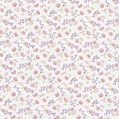 Brewster Wallcovering Lizabeth Purple Allover Floral Purple Traditional Flower Wallpaper