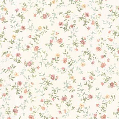 Brewster Wallcovering Sophie Salmon Floral Toss Salmon Traditional Flower Wallpaper