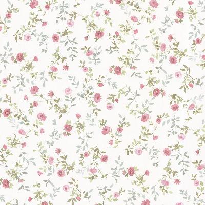 Brewster Wallcovering Sophie Pink Floral Toss Pink Traditional Flower Wallpaper