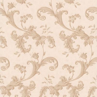 Mirage Isleworth Light Brown Floral Scroll Light Brown Brewster Wallpaper