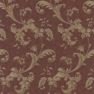 Mirage Isleworth Burgundy Floral Scroll Burgundy Brewster Wallpaper
